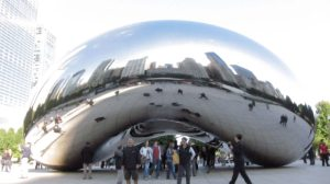 Cloud Gate in Millenium Park, also known as the 'bean'