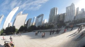 Chicago Skyline reflected in the 'bean'