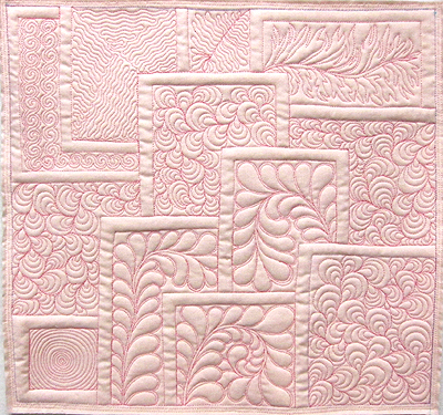 July 2012 FMQ Challenge - Tile motif - machine quilted by Diane Loomis