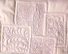 Test free motion quilting for SewCalGal's July FMQ Challenge by Diane Loomis